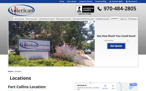Screenshot of Locations Page 1aia.com - Locations | 1st American Insurance Agency - captured Oct. 20, 2018