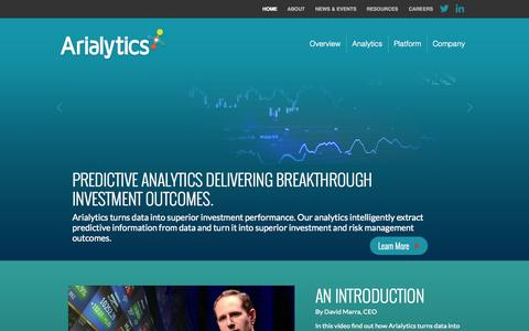 Screenshot of Home Page arialytics.com - Arialytics | Breakthrough Investment Outcomes - captured Sept. 30, 2014