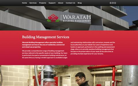 Screenshot of Services Page waratahbm.com - Waratah Building Management : Services - captured Jan. 21, 2016