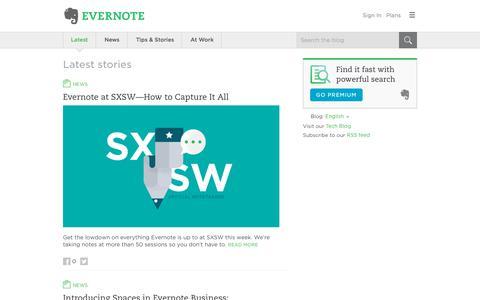 Screenshot of Blog evernote.com - Evernote Blog - Remember Everything. - captured March 7, 2018