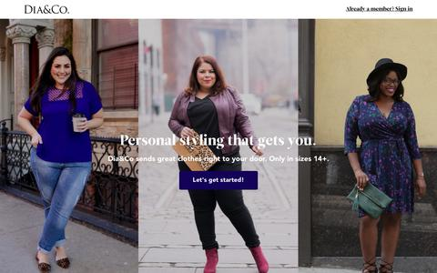 Screenshot of Home Page dia.co - Personal Styling for Plus Size Women | Dia&Co - captured Nov. 12, 2016