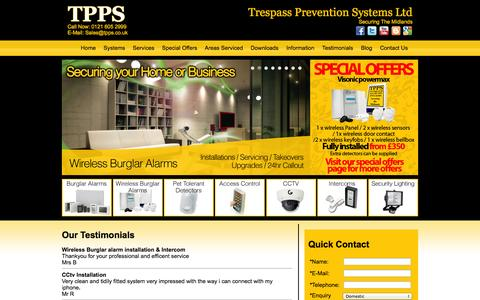 Screenshot of Testimonials Page tpps.co.uk - Security systemsTestimonials - captured Oct. 27, 2014