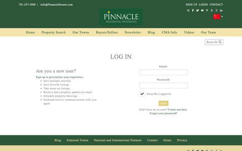 Screenshot of Login Page pinnaclehouses.com - Log In   Pinnacle Residential Properties - captured Sept. 28, 2018