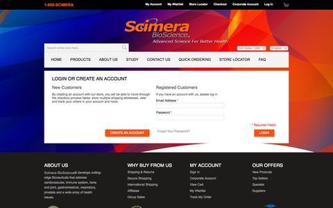 Screenshot of Login Page scimera.com - Customer Login - captured Oct. 4, 2014