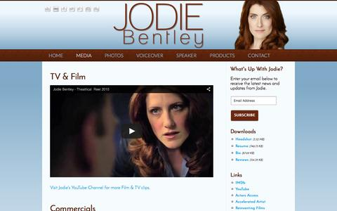 Screenshot of Press Page jodiebentley.com - Jodie Bentley | Media - captured Feb. 11, 2016