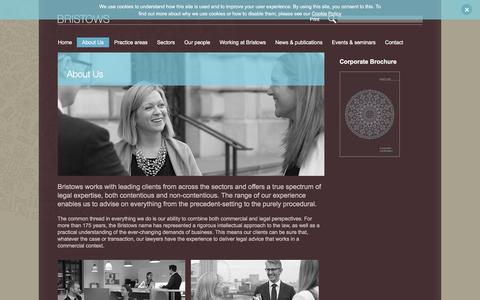 Screenshot of About Page bristows.com - About Us -  London law firm – Award winning lawyers – Bristows - captured Feb. 8, 2016