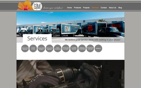 Screenshot of Services Page gmbi.net - G/M Business Interiors - Services - captured July 7, 2017