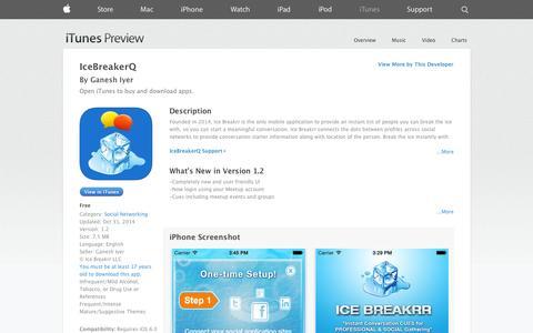 Screenshot of iOS App Page apple.com - IceBreakerQ on the App Store on iTunes - captured Nov. 3, 2014