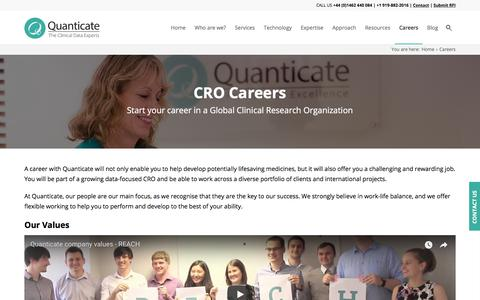 Screenshot of Jobs Page quanticate.com - CRO Careers | CRO Jobs | Clinical Research Organization | Quanticate - captured July 21, 2018