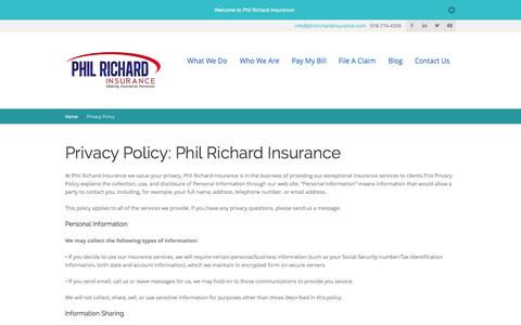 Screenshot of Privacy Page philrichardinsurance.com - Phil Richard Insurance Privacy Policy - Phil Richard Insurance - captured Oct. 2, 2014