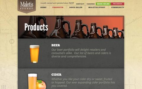 Screenshot of Products Page maletis.com - Maletis Beverage  • Products - captured Oct. 1, 2018