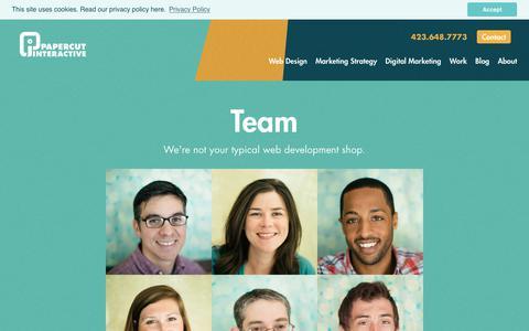 Screenshot of Team Page papercutinteractive.com - Our Team   Papercut Interactive - captured Sept. 26, 2018