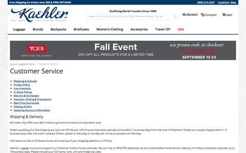 Screenshot of Privacy Page Support Page worldtraveler.com - Customer Service | Kaehler Luggage - captured Sept. 22, 2018