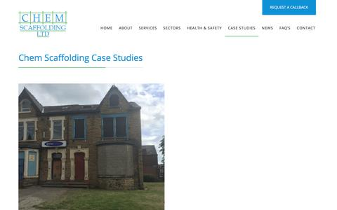 Screenshot of Case Studies Page chemscaffolding.co.uk - Case Studies - Chem Scaffolding - captured July 28, 2017