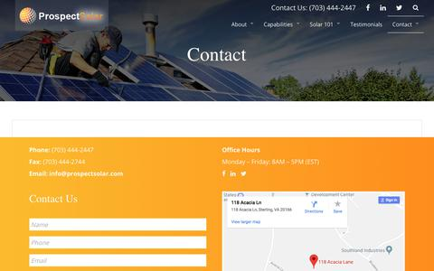 Screenshot of Contact Page prospectsolar.com - Contact | Prospect Solar - captured July 22, 2018