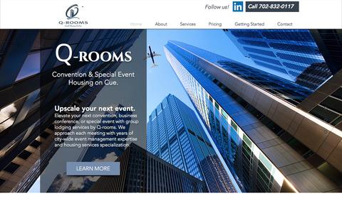 Screenshot of Home Page q-rooms.com - Q-rooms: Event housing on cue! | Convention Services - captured Oct. 2, 2016