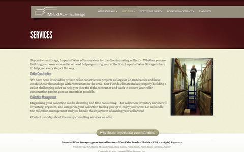 Screenshot of Services Page imperialwinestorage.com - Services - Imperial Wine Storage | Imperial Wine Storage - captured Sept. 30, 2014