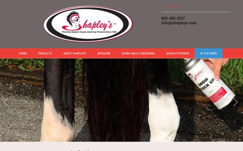Screenshot of Press Page shapleys.com - Shapley's Superior Equine Grooming Products :: In the News - captured Feb. 28, 2016