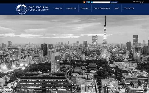 Screenshot of Home Page prgadvisory.com - Pacific Rim Global Advisory - captured Jan. 22, 2016