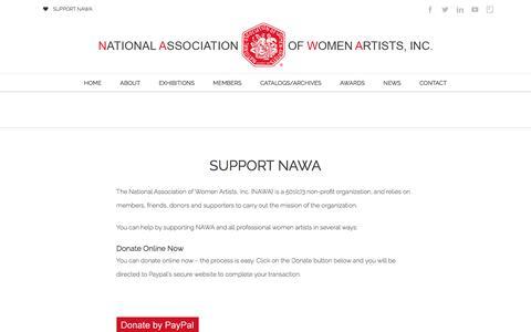 Screenshot of Support Page thenawa.org - Support NAWA - National Association of Women Artists, Inc. | NAWA - captured Dec. 1, 2016