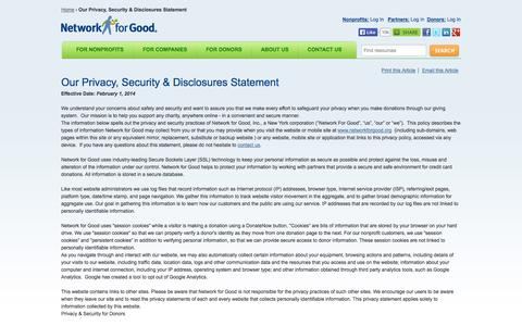 Screenshot of Privacy Page networkforgood.org - Our Privacy, Security & Disclosures Statement | Network for Good - captured Sept. 16, 2014