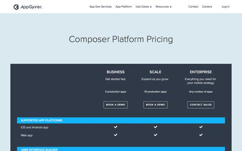 Screenshot of Pricing Page appgyver.com - AppGyver Composer Pricing - captured Aug. 12, 2018
