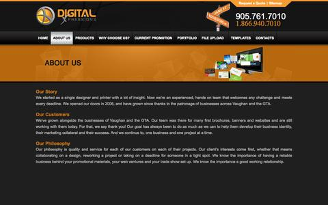 Screenshot of About Page digitalxpressions.ca - Banner Design Graphic Design Companies Printing Services Vaughan - captured Sept. 30, 2014
