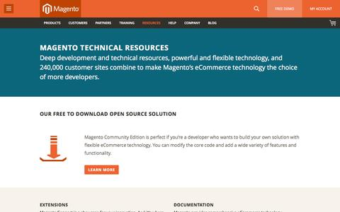 Screenshot of Developers Page magento.com - eCommerce Technology & Technical Resources   Magento - captured June 16, 2015