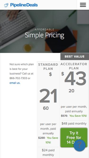 Screenshot of Pricing Page  pipelinedeals.com - Pricing | PipelineDeals