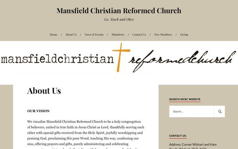 Screenshot of About Page wordpress.com - About Us – Mansfield Christian Reformed Church - captured July 2, 2018