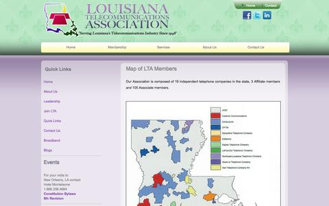 Screenshot of Maps & Directions Page ltassn.org - Louisiana Telecommunications Association :: Map - captured Oct. 3, 2014