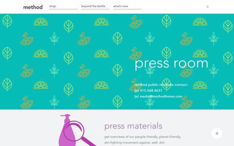 Screenshot of Press Page methodhome.com - method | press room - captured June 4, 2017