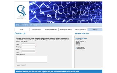 Screenshot of Contact Page q3ms.co.uk - Q3 Analytical - Bioanalysis for Research - captured Oct. 8, 2014