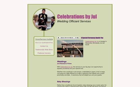 Screenshot of Home Page celebrationsbyjul.com - Celebrations by Jul - Home/Services Available - captured Sept. 29, 2014