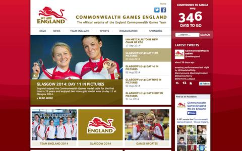 Screenshot of Home Page weareengland.org - We are England: The England Commonwealth Games team - captured Sept. 24, 2014