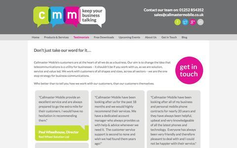 Screenshot of Testimonials Page callmastermobile.co.uk - Callmaster Mobile Customer Testimonials - captured Oct. 29, 2014