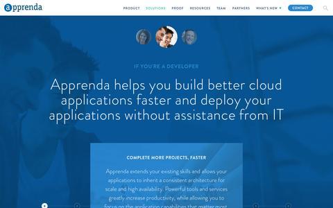 Screenshot of Developers Page apprenda.com - Private PaaS | Benefits for Developers | Apprenda - captured Feb. 4, 2016