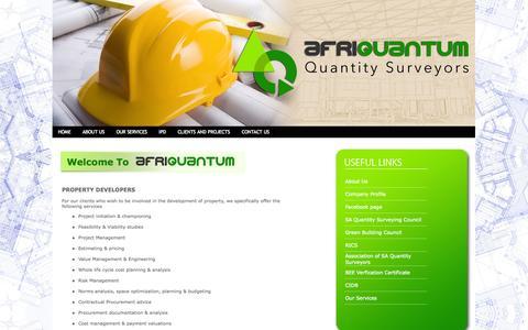 Screenshot of Developers Page afriquantum.co.za - AFRIQUANTUM | Quantity Surveyors - captured Oct. 4, 2014