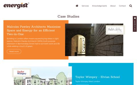 Screenshot of Case Studies Page energistuk.co.uk - Case Studies | Energist - captured July 19, 2018