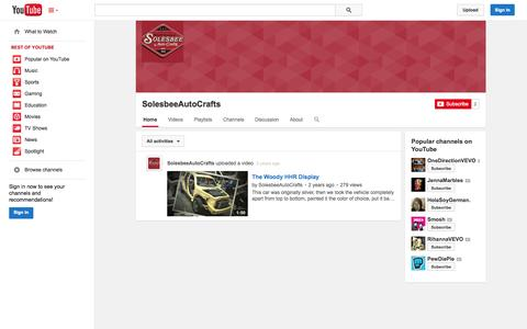 Screenshot of YouTube Page youtube.com - SolesbeeAutoCrafts  - YouTube - captured Oct. 26, 2014