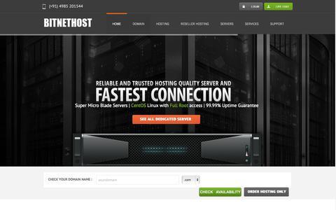 Screenshot of Home Page bitnethost.com - BITNETHOST - Cheap Reseller Hosting & Domain Registration | Fully Managed VPS & Dedicated Server - captured Sept. 30, 2014