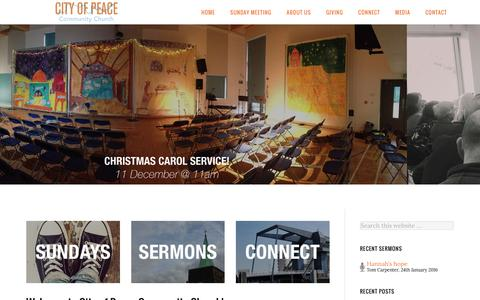 Screenshot of Home Page cityofpeace.co.uk - City of Peace Community Church – City of Peace is a family friendly neighbourhood church on the Isle of Dogs. All welcome. - captured Nov. 6, 2016
