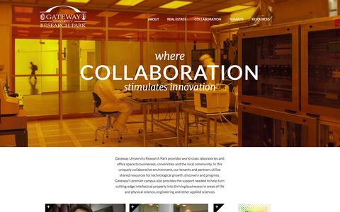 Screenshot of Home Page gatewayurp.com - Gateway University Research Park - Where Collaboration Stimulates Innovation - captured Oct. 2, 2014