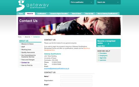 Screenshot of Contact Page gatewayqualifications.org.uk - Contact Us | Gateway Qualifications - captured Sept. 29, 2014