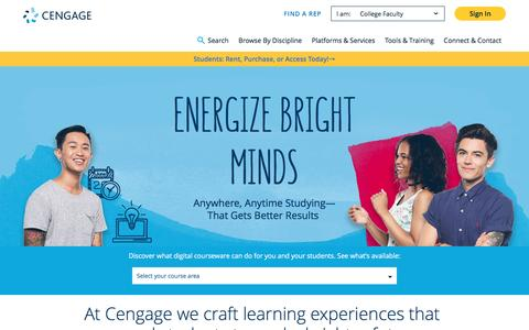 Screenshot of Home Page cengage.com - Higher Ed eBooks & Digital Learning Solutions - Cengage - captured April 30, 2017