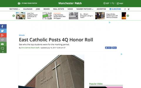 Screenshot of patch.com - East Catholic Posts 4Q Honor Roll - Manchester, CT Patch - captured July 16, 2017