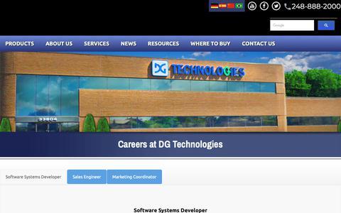 Screenshot of Jobs Page dgtech.com - Contact DG Technologies - captured Oct. 7, 2018