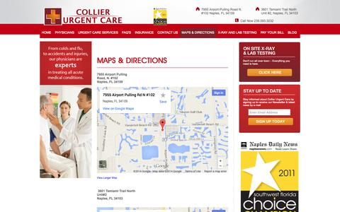 Screenshot of Maps & Directions Page collierurgentcare.com - Here are directions to  Collier Urgent Care in Naples, FL   Collier Urgent Care - captured Oct. 3, 2014