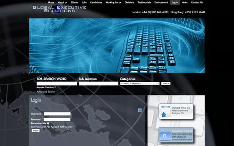 Screenshot of Login Page globalexec-solutions.com - Login | Global Executive Solutions | Recruitment across EMEA & APAC region - captured Oct. 2, 2014