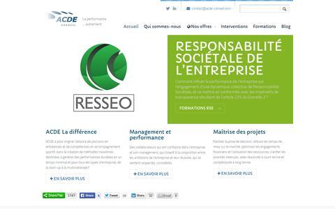 Screenshot of Home Page acde-conseil.com - ACDE ConseilACDE Conseil - captured Sept. 30, 2014